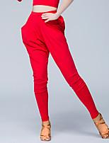 Dança Latina Fundos Mulheres Apresentação Seda Sintética 1 Peça Alto Calças