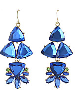 Drop Earrings Imitation Sapphire Rhinestone Unique Design Dangling Style Euramerican Fashion Bohemian Alloy Flower Geometric Jewelry For