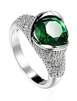Women's Men's Ring Emerald Unique Design Euramerican Fashion Zircon Alloy Jewelry Jewelry 147 Wedding Special Occasion Anniversary