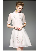 OYCP Women's Daily Antique Summer Blouse Skirt SuitsSolid Embroidery Round Neck Short Sleeve