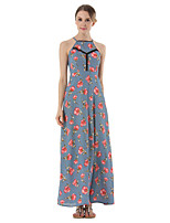 SUOQI Summer Women Dress Sexy Backless Slings Chiffon Dress Floral Print Maxi Holiday Dresses