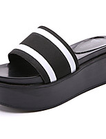 Women's Slippers & Flip-Flops PU Summer Walking Split Joint Creepers Black Black/White 2in-2 3/4in