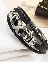 Unsex Couple's Multilayer Knitting  Word X Leather Bracelet  For Daily 1 pc