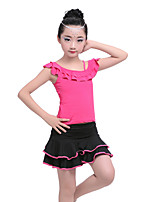 Shall We Latin Dance Outfits Kid's Children's Performance Cotton Milk Fiber Ruched Draped