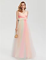 TS Couture Evento Formal Vestido - Colores en Bloque Estilo de Celebridad Corte en A Tirantes Spaghetti Hasta el Suelo Tul conEn Cruz