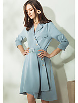 EVEN THOUGHWomen's Casual/Daily Vintage Simple Shirt DressSolid V Neck Asymmetrical  Sleeve Polyester Summer High Rise Inelastic Medium