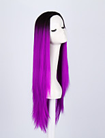 Ladies Women Party Straight Hair Full Wig Daily Wearing Heat Resistant Cosplay Purple Mixed Color Synthetic Wigs