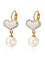 Elegant Women's Heart Shaped Golden Pearl Earrings Jewelry For Wedding Anniversary Birthday