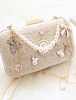 Women Evening Bag PU All Seasons Event/Party Party & Evening Date Baguette Pearl Detailing Magnetic Champagne