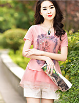 Women's Daily Simple Blouse,Print Round Neck Short Sleeve Polyester