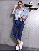 Women's Casual/Daily Simple Spring Summer Denim Jacket,Solid Shirt Collar Half Sleeve Short Special Fur Types