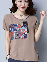 Women's Casual/Daily Simple Summer T-shirt,Solid Round Neck Short Sleeve Cotton Opaque