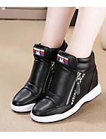 Women's Sneakers Comfort PU Spring Daily Comfort Black White Flat