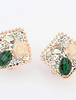 Korean Style  Elegant  Luxury  Rhinestone Luster Bright Fashion  Flower  Earrings Lady Party Movie Jewelry