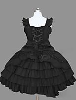 Uma-Peça/Vestidos Doce Lolita Cosplay Vestidos Lolita Rosa Preto Vintage Concha Sem Manga Short / Mini Vestido Para
