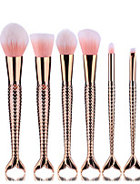 6pcs Rose Gold Double Fish Tail Makeup Brush Set Blush Brush Eyeshadow Eyeliner Brush Eyelash Brush dyeing Brush Powder Brush Sponge Synthetic Hair