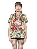 Damen Mit Mustern camuflaje Lippen Einfach Street Schick Aktiv Ausgehen Lässig/Alltäglich Athlässigkeit Sportkleidung T-shirt,