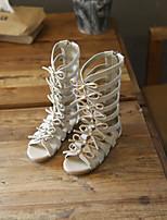 Girls' Sandals First Walkers PU Spring Fall Casual First Walkers Magic Tape Flat Heel Gray Black Flat