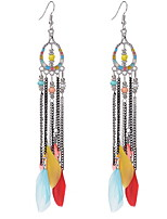 Drop Earrings Women's Girls' Movie Jewelry Euramerican Bohemian Personalized Tassel Feather Fashion Party Dailywear Statement Gift Jewelry