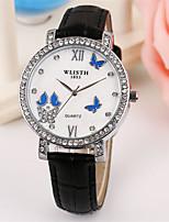 Женские Модные часы Кварцевый Кожа Группа Повседневная Черный Белый Розовый