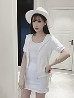 Women's Casual/Daily Simple Spring Blazer Skirt Suits,Solid Hooded Long Sleeve Micro-elastic