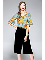 NEDO Women's Going out Casual/Daily Holiday Simple Cute Street chic Spring Summer Blouse Pant SuitsFloral Round Neck Cropped Pant Chiffon