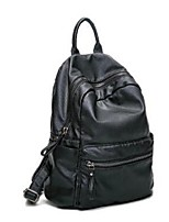 Unisex Backpack PU All Seasons Casual Bucket Zipper Black