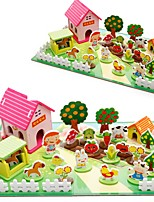 Pretend Play DIY KIT Action Figures & Stuffed Animals Building Blocks Natural Wood