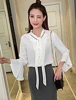 Women's Going out Vintage Blouse,Solid Round Neck Long Sleeve Others