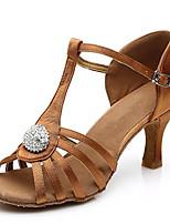 Women's Dance Shoes Sandals Latin Satin Stiletto Heel Indoor Black/Brown