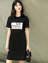 Для женщин На каждый день Свободный силуэт Платье Однотонный С принтом,Круглый вырез Выше колена С короткими рукавами Хлопок ЛетоСо