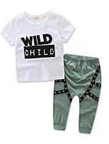 Boy's Patchwork Sets,Cotton Blend Summer Short Sleeve Clothing Set