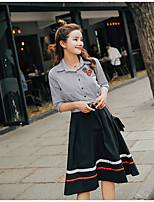 Women's Casual/Daily Cute Shirt Dress Suits,Solid Shirt Collar ½ Length Sleeve Inelastic