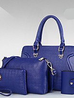 Women Bag Sets PU All Seasons Formal Casual Office & Career Shell Zipper Red Black Gold Blue