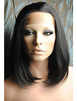 12 inch #1B Natural Black Silk Straight Heat Friendly Synthetic Lace Front Wigs LFSW006