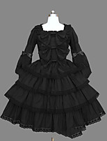One-Piece/Dress Gothic Lolita Lolita Cosplay Lolita Dress Black Vintage Cap Long Sleeve Short / Mini Dress For Cotton Blend
