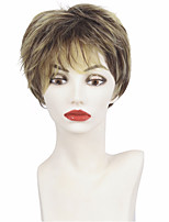 Short Pixie Cut Ladies Wig Brown Mixed Golden Blonde Highlights Synthetic Haircut Layered with Bangs Wig for Women Fashion Style HEAT RESISTANT