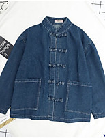 Women's Casual/Daily Simple Street chic Spring Fall Denim Jacket,Solid Notch Lapel Long Sleeve Regular Cotton