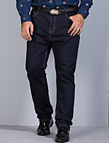 Men's Mid Rise Micro-elastic Straight Jeans PantsSimple Loose Straight Solid YF-8628