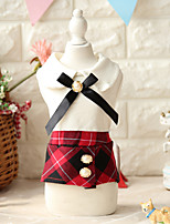 Dog Dress Dog Clothes Cute Plaid/Check Red Black