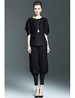 Mujer Sofisticado Casual/Diario Primavera Verano Blusa Pantalón Trajes,Escote Redondo Un Color