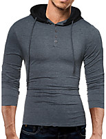 Men's Plus Size Casual/Daily Sports Going out Active Simple Street chic Hoodie Solid Color Block Pure Color Mixed Color Hooded strenchy