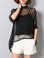 Women's Going out Work Simple Sophisticated All Seasons Blouse,Solid Stand ½ Length Sleeve Rayon Polyester