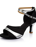 Women's Dance Shoes Satin Leatherette Latin Sandals Heel Indoor Customizable