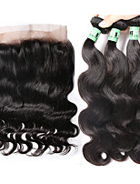 360 Lace Frontal Closure with Bundles Malaysian Body Wave Human Hair Weaves 3 Bundles with 360 Lace Frontal