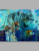 Abstract Oil Painting Blue Wolf is Searching For Something Framed Handmade Oil Painting For Home Decoration