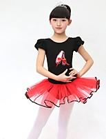Balé Crianças Algodão Laço 2 Peças Manga Curta Vestido Tiaras