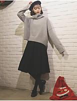 Для женщин Повседневные Простое Очаровательный Обычный Пуловер Однотонный,Хомут Длинный рукав Акрил Осень Зима Средняя Слабоэластичная