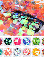 1PC Nail art The mermaid iridescence sequins circular The size of the conventional 12 color