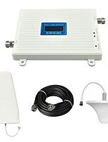 LCD Display CDMA 850mhz Cell Phone Signal Booster CDMA980 800mhz Signal Repeater with Ceiling Antenna / Log Periodic Antenna / Cable / White